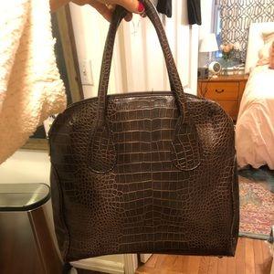 Handbags - Faux crocodile brown handbag with zip closure